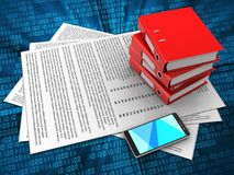 3d blank. 3d illustration of papers and binder folders over digital background Royalty Free Stock Image