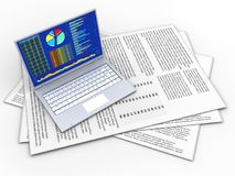 3d blank. 3d illustration of papers and pc over white background Stock Images