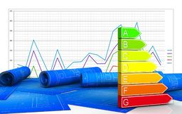 3d blank. 3d illustration of power rating  over business graph background Stock Photos