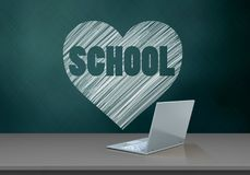 3d blank. 3d illustration of schoolboard with heart and school text and laptop computer Royalty Free Stock Photos