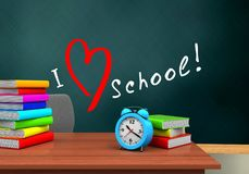 3d blank. 3d illustration of schoolboard with love school text and alarm clock Stock Photos