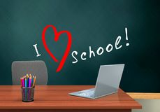 3d blank. 3d illustration of schoolboard with love school text and laptop computer Stock Photos