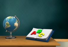 3d blank. 3d illustration of schoolboard with opened textbook and globe Stock Photo