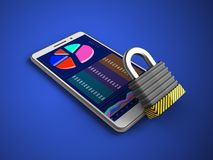 3d blank. 3d illustration of white phone over blue background with iron lock Royalty Free Stock Photography