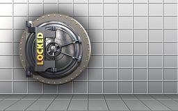 3d blank locked vault door. 3d illustration of locked vault door  over white wall background Royalty Free Stock Photos