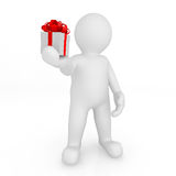 3d blank man holding gift box. Stock Photography