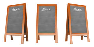 3D Blank menu poster. In three views. Isolated white background Stock Image