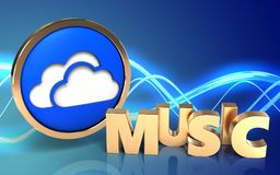 3d blank music sign. 3d illustration of clouds symbol over sound background with music sign Stock Photography
