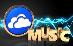 3d blank music sign. 3d illustration of clouds symbol over sound wave black background with music sign Stock Image