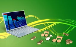 3d blank notes. 3d illustration of laptop computer over green background with notes Royalty Free Stock Images