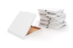 3d blank packing boxes for pizza. On white background Stock Photos