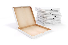 3d blank packing boxes for pizza. On white background Stock Images