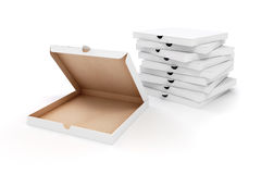 3d blank packing boxes for pizza. On white background Royalty Free Stock Photo