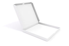 3d blank packing boxes for pizza. On white background Stock Image