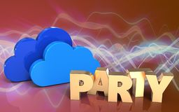 3d blank party sign. 3d illustration of clouds over red sound wave background with party sign Stock Images