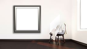 3D blank picture frame hanging on a wall of a modern room interi. 3D render of a blank picture frame hanging on a wall of a modern room interior Stock Photography