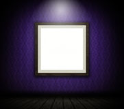3D blank picture frame on patterned wallpaper wall. 3D render of a blank picture frame on patterned wallpaper wall Stock Photo