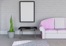 3D blank picture frame in room interior. 3D render of a blank picture frame in room interior Royalty Free Stock Photos