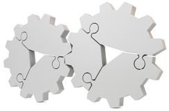 3d blank puzzle gear Stock Photos
