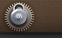 3d blank safe. 3d illustration of lock  over bricks background Royalty Free Stock Photography