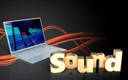 3d blank 'sound' sign. 3d illustration of laptop computer over sound wave orange background with 'sound' sign Stock Images