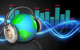 3d blank spectrum. 3d illustration of earth in headphones over sound wave black background Royalty Free Stock Photography