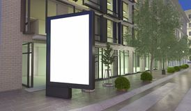 3d Blank street billboard on the Street. 3d renderer image. Blank street billboard on the Street. mock up concept Stock Images