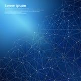 3D blaue abstrakte Mesh Background, Linien- und Formtechnologie Stockfotos