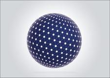 3d blauw gebied met de technologieteken van de netwerkbol vector illustratie