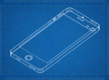3D blauwdruk van Smartphone Stock Afbeeldingen