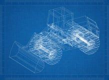 3D blauwdruk van wielladers royalty-vrije illustratie