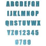 3D blauwe brieven/alfabet/aantallen Stock Foto's