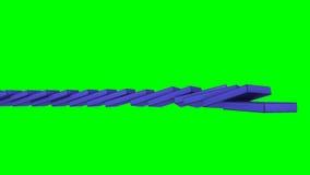 3D blauwe domino's die tegen een groene achtergrond vallen royalty-vrije illustratie