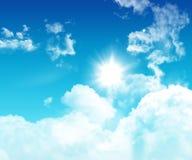 3D blauwe hemel met pluizige witte wolken Stock Fotografie
