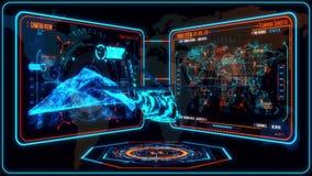 3D Blauwe Oranje Helikopter HUD Interface Motion Graphic Element stock videobeelden