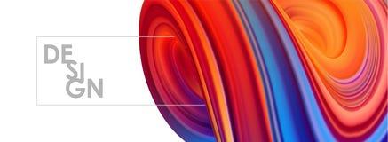 3D bleu et rouge ont coloré la forme de fluide tordue par résumé sur le fond blanc Conception liquide de bannière à la mode Images libres de droits