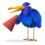 3d Bliebird with a bullhorn. 3d render of a bluebird holding a bullhorn Royalty Free Stock Photo