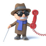 3d Blind man answers the phone. 3d render of a blind man holding a telephone handset Royalty Free Stock Photography