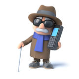 3d Blind man chats on a cellphone Stock Photos