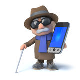 3d Blind man chats on his smartphone Royalty Free Stock Photo