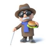 3d Blind man eats a burger. 3d render of a blind man eating a beefburger Royalty Free Stock Photos