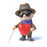 3d Blind man feels romantic. 3d render of a visually impaired senior citizen holding a red heart Stock Images