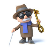 3d Blind man has a golden key. 3d render of a visually impaired senior citizen holding a gold key Stock Images
