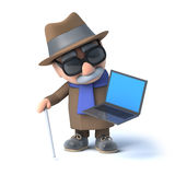 3d Blind man has a laptop pc. 3d render of a visually impaired senior citizen holding a laptop pc Royalty Free Stock Image