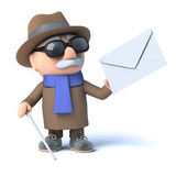 3d Blind man has mail. 3d render of a visually impaired senior citizen holding an envelope Royalty Free Stock Image