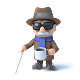 3d Blind man has a tea break. 3d render of a visually impaired senior citizen drinking a cup of coffee Royalty Free Stock Image