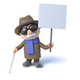 3d Blind man holding a placard Royalty Free Stock Photography