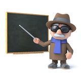 3d Blind man points the chalkboard. 3d render of a visually impaired senior citizen standing at a chalkboard Stock Image
