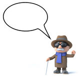 3d Blind man with speech balloon. 3d render of a visually impaired old man with blank speech bubble Stock Photos