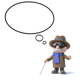 3d Blind man with a though bubble. 3d render of a blind man with a thought bubble Royalty Free Stock Photo